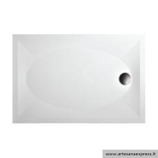 PAA ART 80X120 akmens masės dušo padėklas, baltas