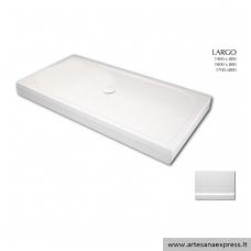 PAA LARGO 80X140 akmens masės dušo padėklas, baltas